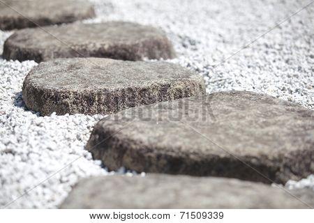 Natual stone pathway at Japanese zen garden