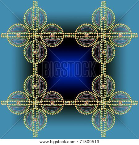 Color Abstract Composition With A Yellow Balls On  Turquoise Background.
