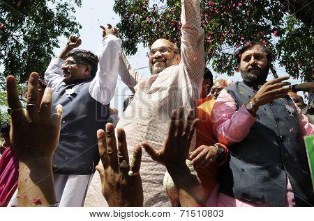 Amit Shah rejoicing.