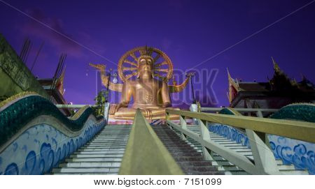 Big Buddha On Samui Island After Sunset