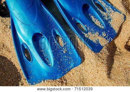 Blue Scuba Fins In Sand