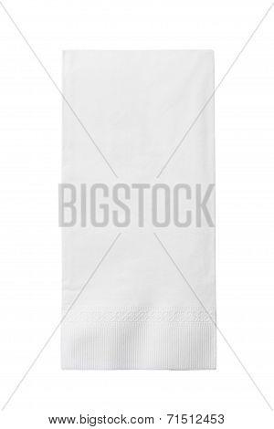 One White Paper Napkin Isolated On White Background