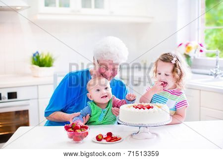Grandmother Baking Cake With Kids