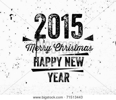 Vintage Christmas Graffiti Label. Concrete Texture Wall. Happy New Year 2015 and Merry Christmas.