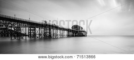Long Exposure Landscape Of Victorian Pier  Witn Moody Sky