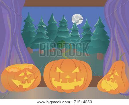 Halloween Pumpkins On A Windowsill