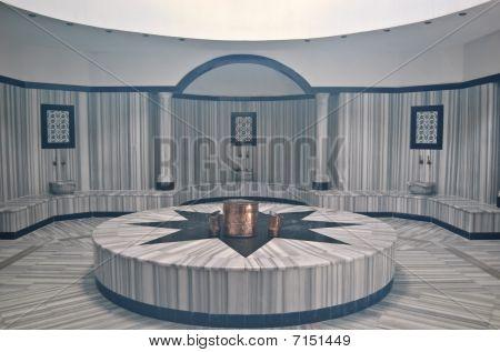 Turkish bath (Hamam) with steam at hotel's spa area, Antalya, Turkey