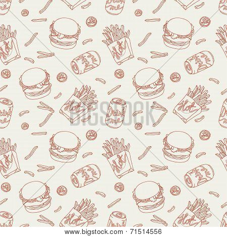 Hand drawn fast food doodle pattern