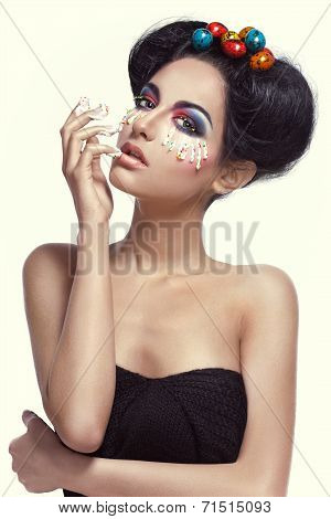 Fashion Beauty Portrait Of Young Girl Model, With Creative Beauty Easter Eggs Makeup