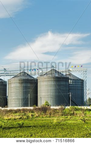 Industrial Silos In The Fields