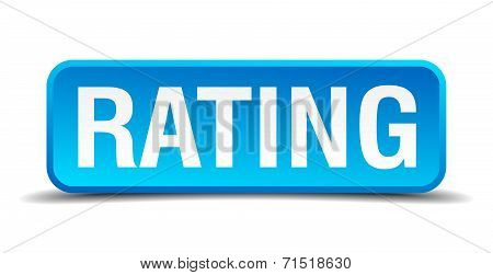 Rating Blue 3D Realistic Square Isolated Button