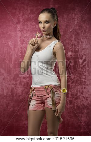 Fashion Girl With Shorts