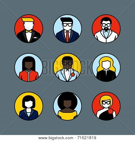 Flat Line Vector Avatars. Male And Female User Icons