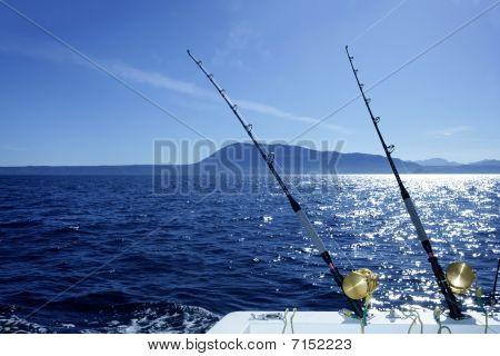 Blue Trolling Boat Fishing Saltwater