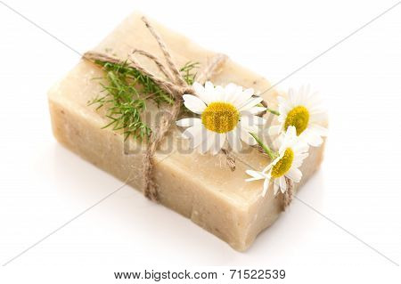Soap Bar With Fresh Chamomile Flowers