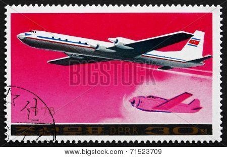Postage Stamp North Korea 1978 Ilyushin Il-18 Airliner