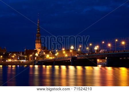 Riga Skyline At Night