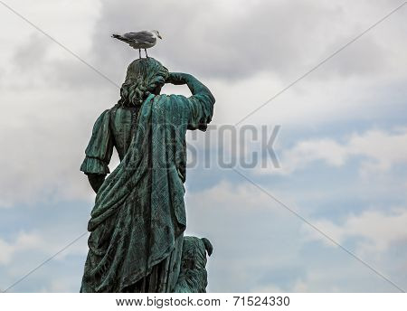 Statue With A Seagull  On His Head