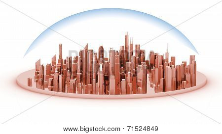 White model mockup of a city with a glass dome