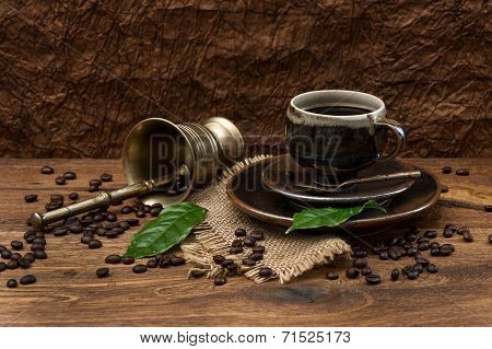 Vintage Still Life With Cup Of Coffee And Antique Accessories