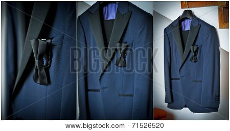 Wedding ultramarine suit and black bow. Formal groom suit with black bow-tie. Elegant groom suit