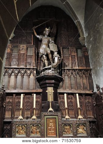 St Michael Statue In Abbey Mont Saint Michel