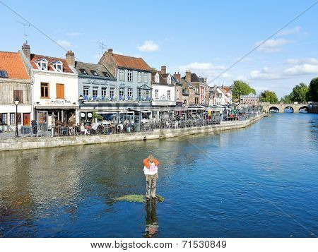 Quai Belu On Somme River In Amiens City