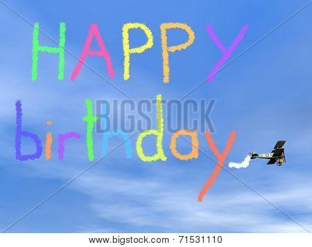 Happy birthday message from biplan smoke - 3D render