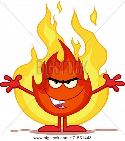 Evil Fire Cartoon Character With Open Arms In Front Of Flames