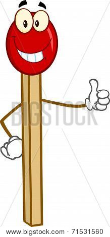 Smiling Match Stick Cartoon Character Showing Thumbs Up