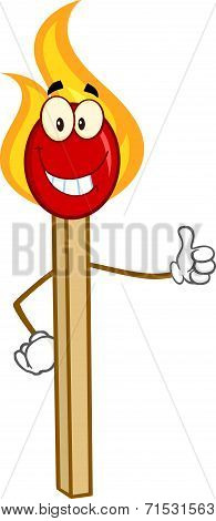 Burning Match Stick Cartoon Character Showing Thumbs Up