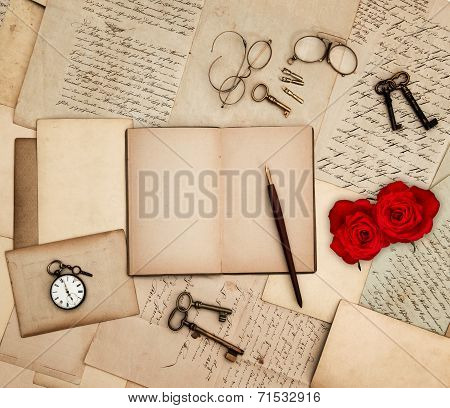 Antique Accessories, Old Letters, Watch, Red Rose
