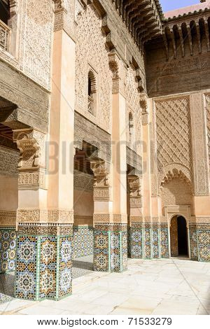 MARRAKESH, MOROCCO- AUGUST 24, 2014: The Ben Youssef Madrasa which is visited by tourists from world on 24 August 2014 in Marrakesh, Morocco. The Ben Youssef Madrasa was an Islamic college.