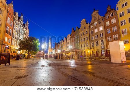 GDANSK, POLAND - 8 AUGUST 2014: Architecture of the Long Lane in Gdansk at night. Baroque architecture of the Long Lane is one of the most notable tourist attractions of the city.