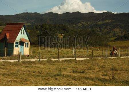 Cottage And Rider In The Colombian Andes