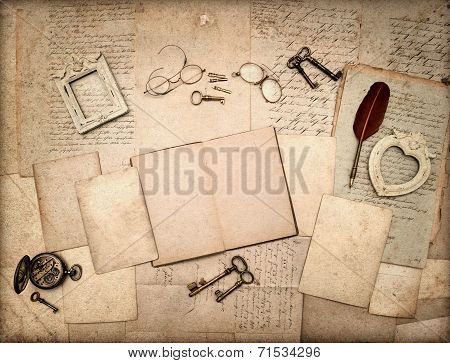 Open Book, Vintage Antique Accessories And Old Letters
