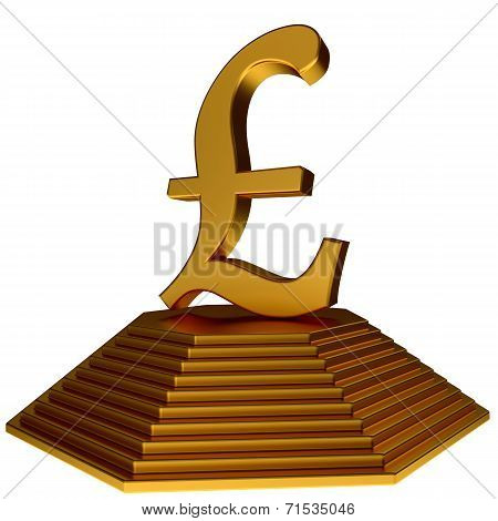 Golden Pyramid And Gold Pound Sterlings Sign