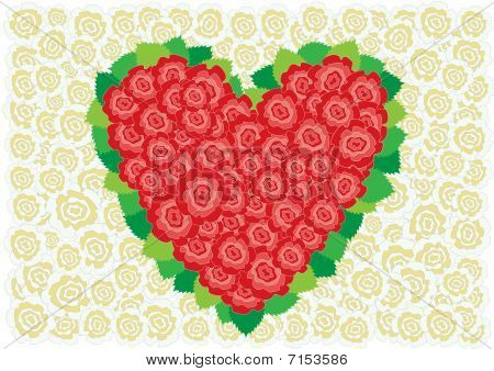 Red and white roses heart