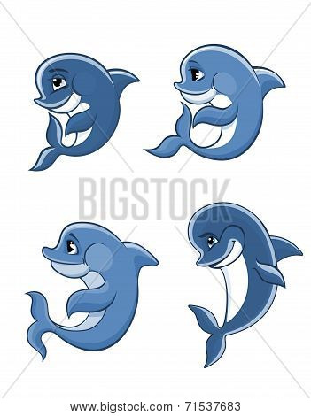 Cartoon dolphin calves set