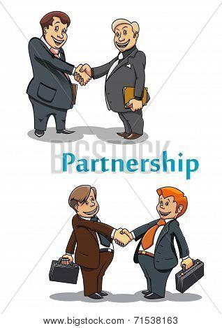 Businessman handshake and partnership