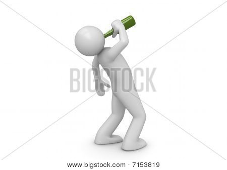 Drunk Man With Green Bottle
