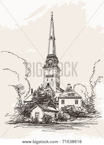 Vasteras Cathedral Europe architecture Vector Sketch Hand drawn illustration