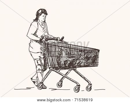 Woman with shopping cart Sketch Vector illustration