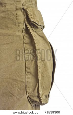 Military Olive Green Army Style Cotton Twill Cargo Pants Storage Pocket Isolated Macro Closeup