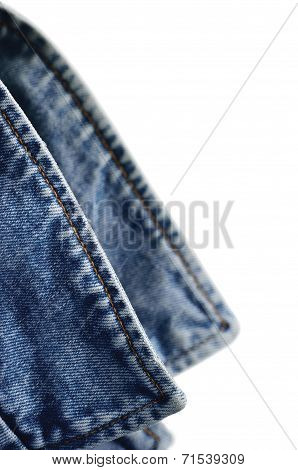 Denim Indigo Blue Jeans Jacket Collar, Isolated Macro Closeup, Large Detailed Vertical Classic