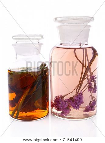 Bottle of herbal tincture on white background isolated