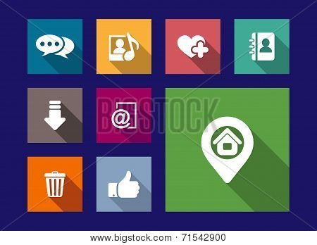 Art, media and web flat icons set