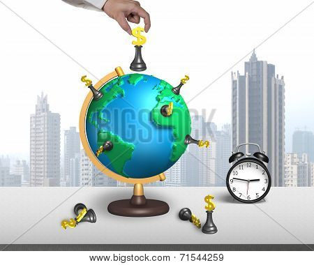 Hand Hold Chess On 3D Map Globe With Clock