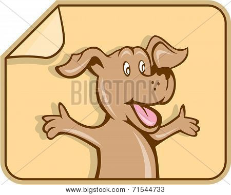 Dog Arms Out Label Cartoon