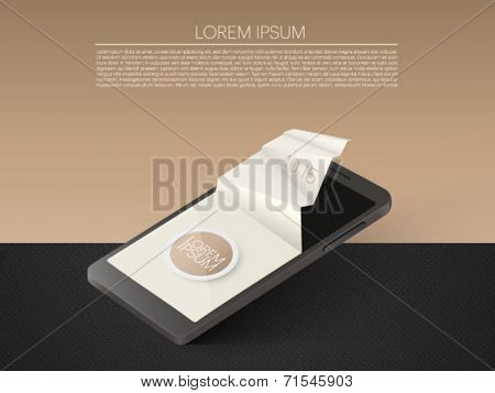 mobile phone with 3d paper screen - vector illustration